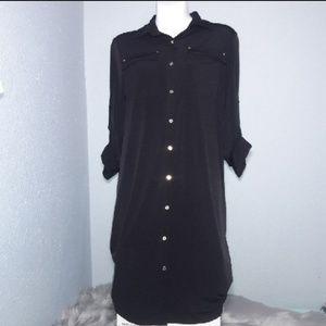 Calvin Klein Black Button Down Dress Size 6